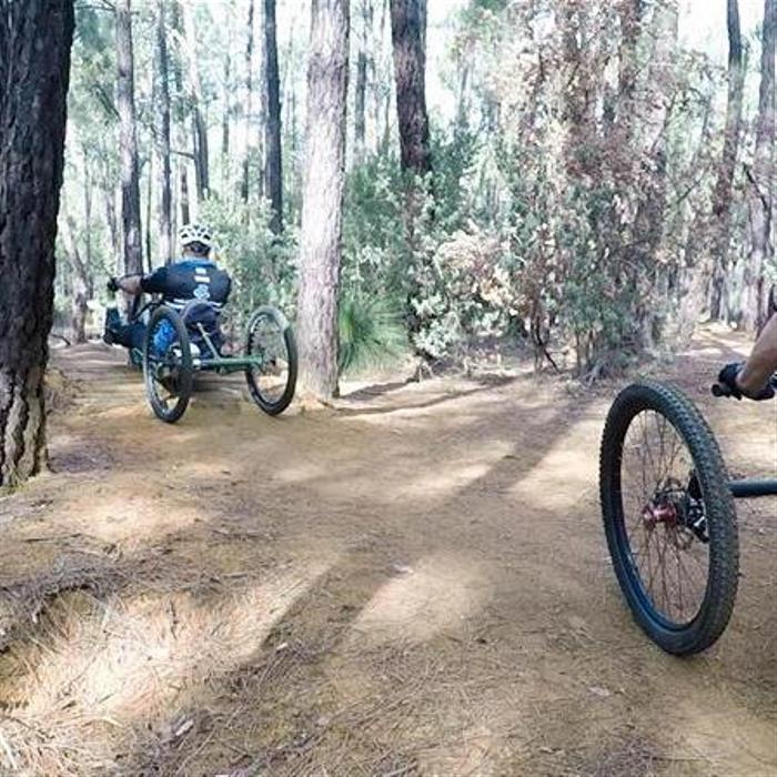 two men ride handcycles through the bush