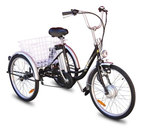 silver trike with basket on back