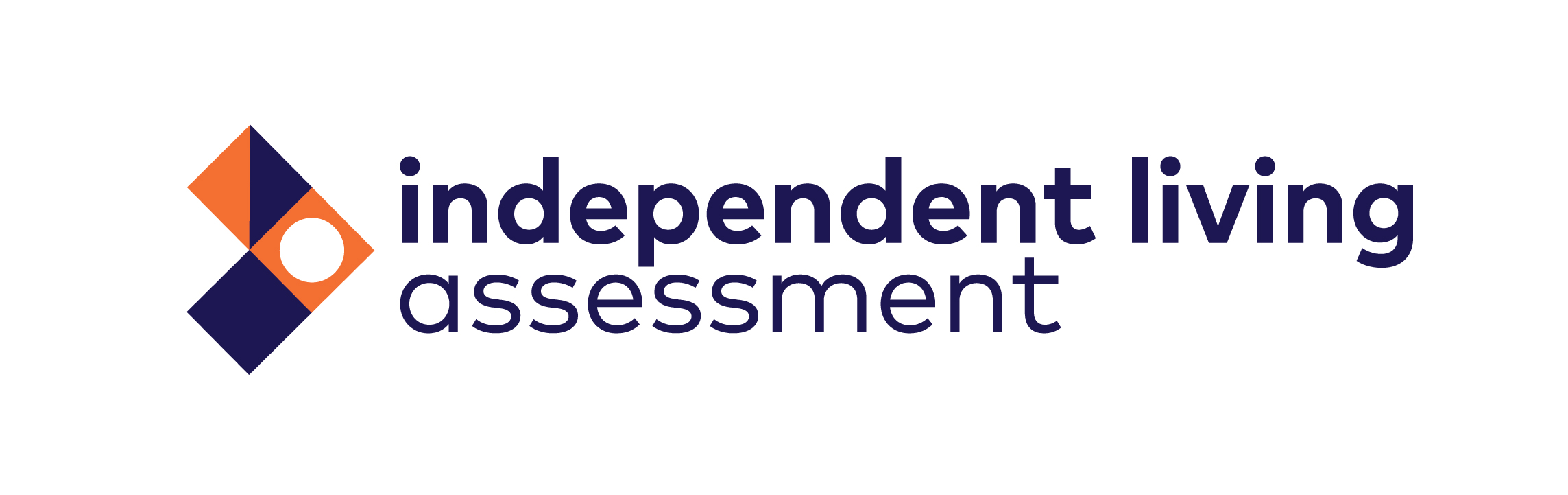 independent living assessment logo in purple with orange and purple squares next to it