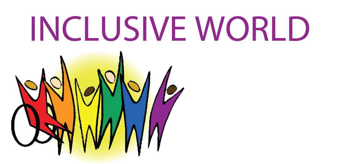 inclusive work logo drawing of coloured human silhouettes with their arms up